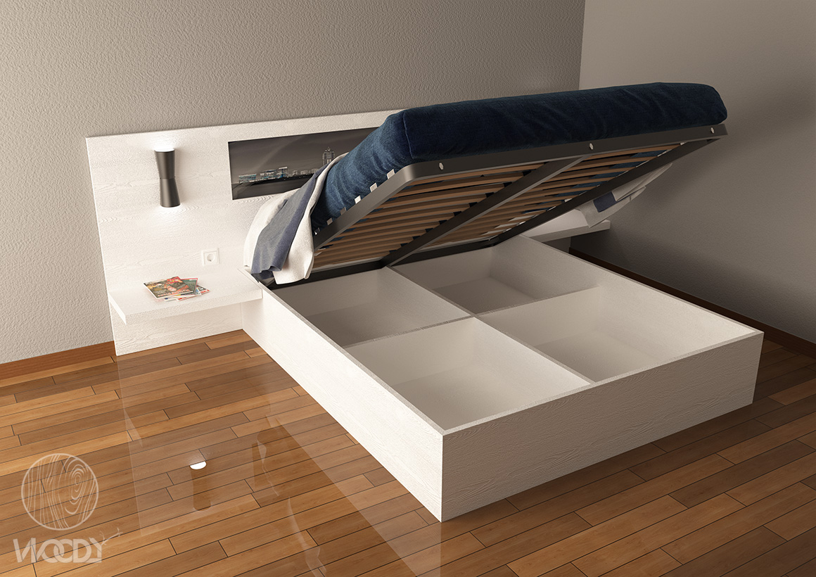 Letti su misura - render letto apribile - Copyright: WOODYDESIGN. All rights reserved.