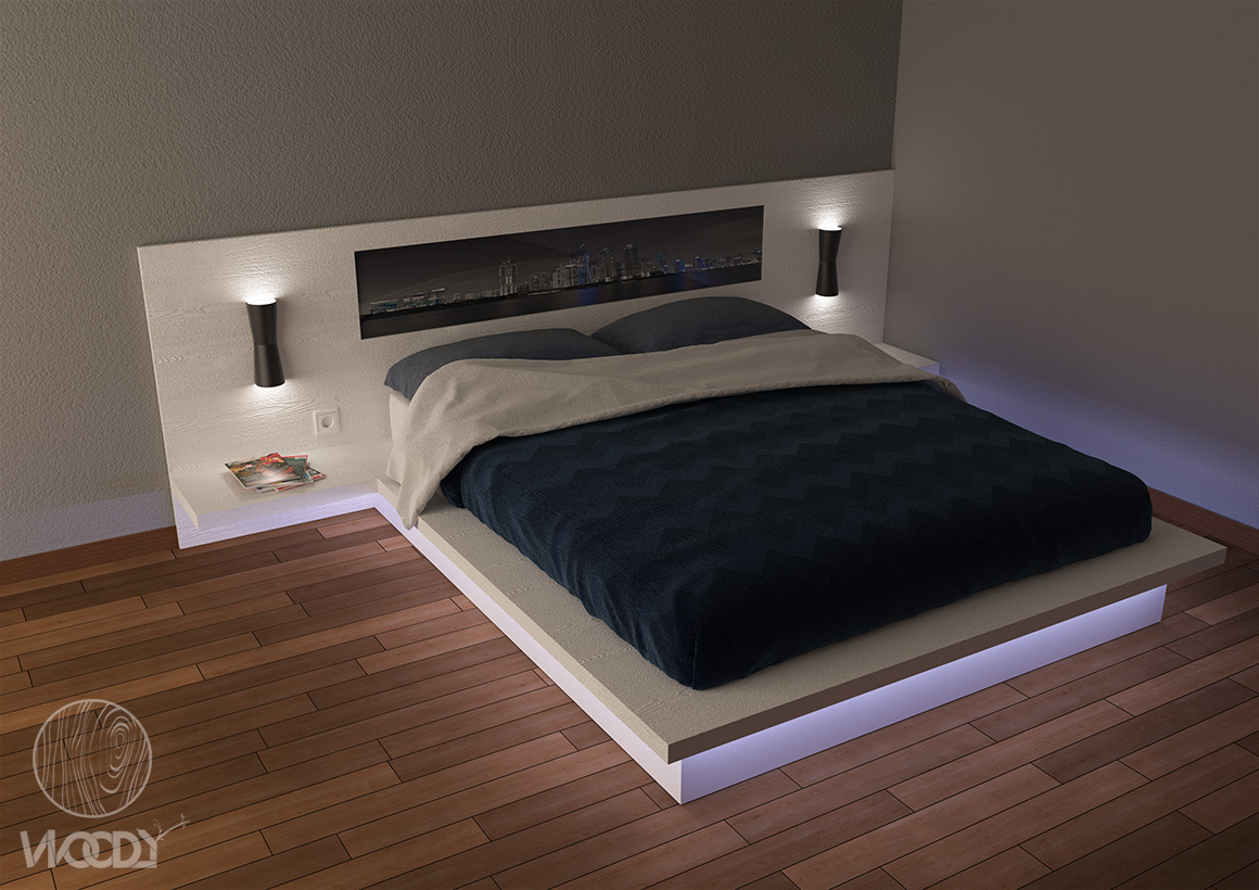 Letti su misura - render letto basso con neon - Copyright: WOODYDESIGN. All rights reserved.